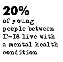 20% of young people between the ages of 13 and 18 live with a mental health condition